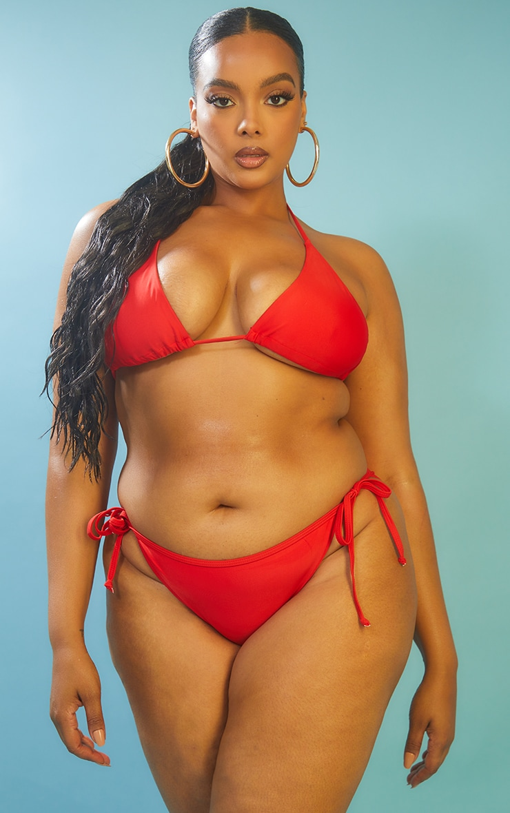 Recycled Plus Red Mix & Match Triangle Bikini Top 1