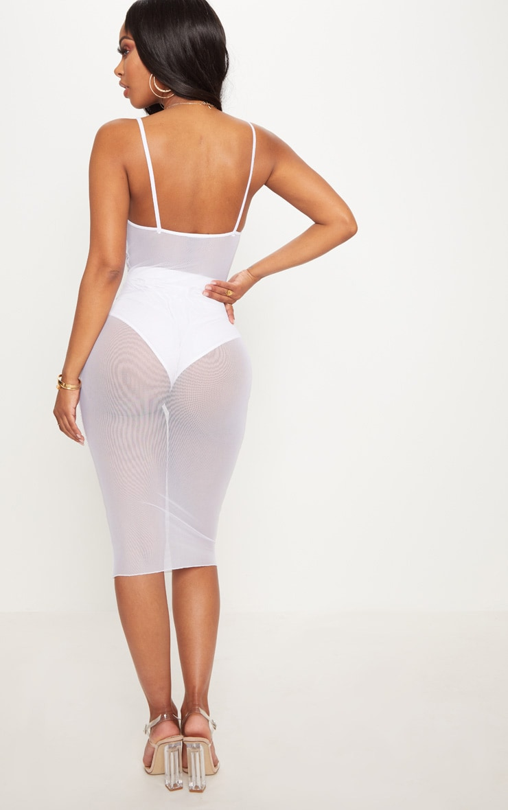 Shape White Ruched Strappy Mesh Longline Midi Dress 2