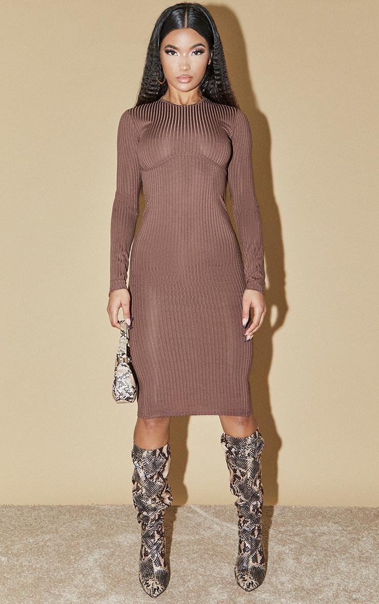 Chocolate Ribbed Underbust Binding Long Sleeve Midi Dress 1