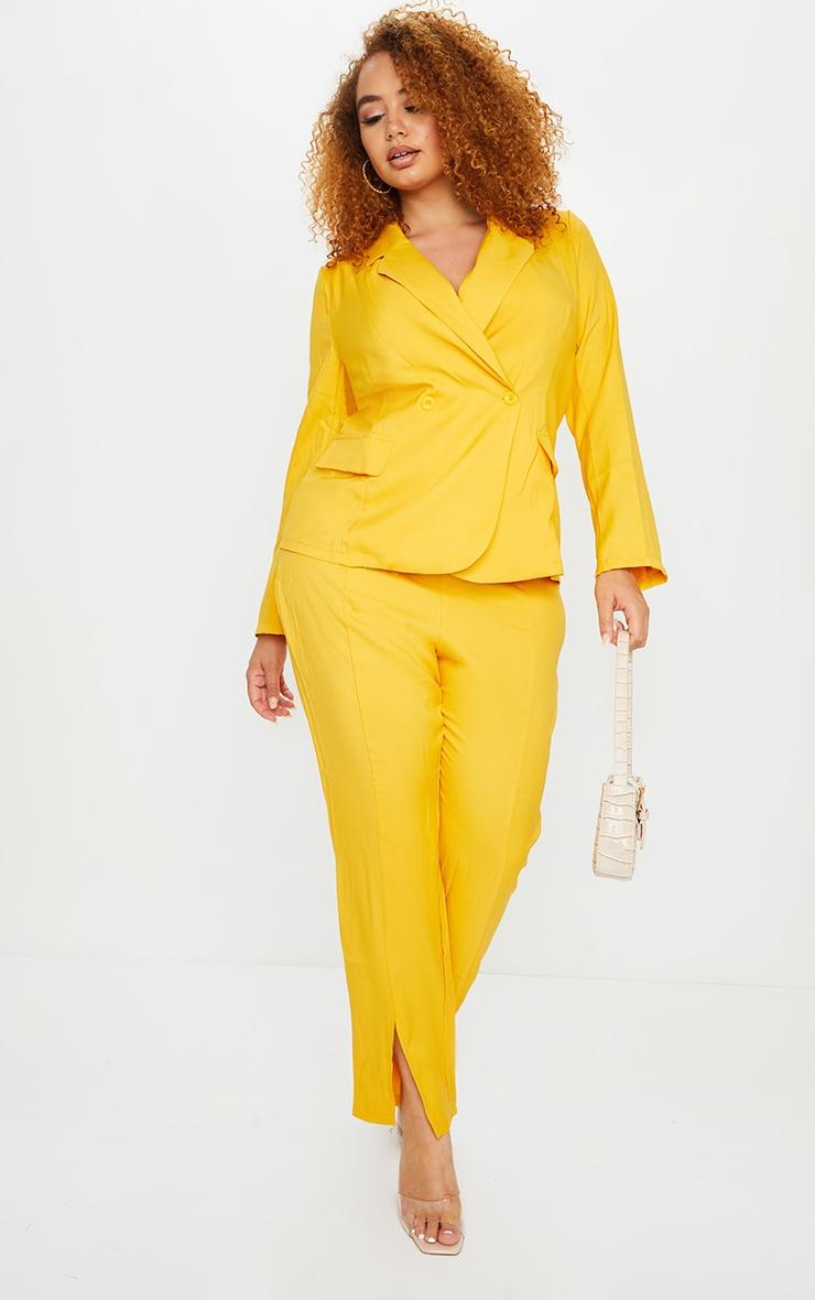 Plus Chartreuse Woven Button Blazer 1