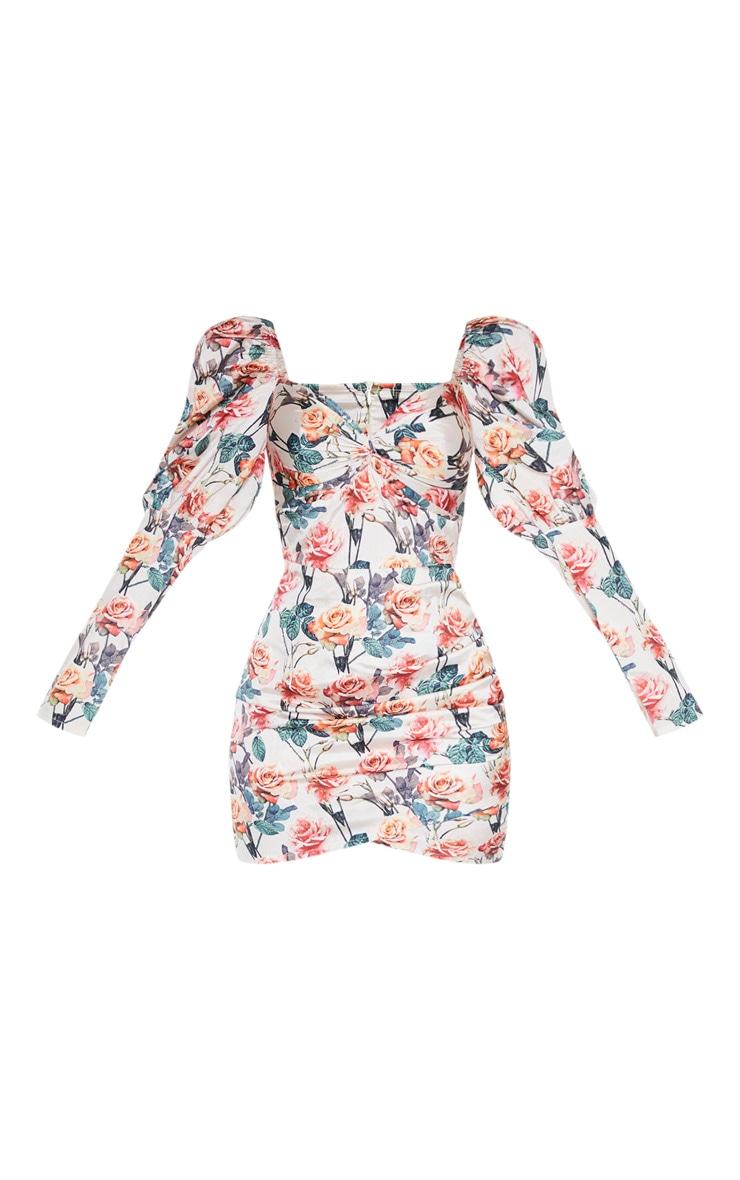 Nude Rose Print Puff Sleeve Twist Detail Bodycon Dress 3