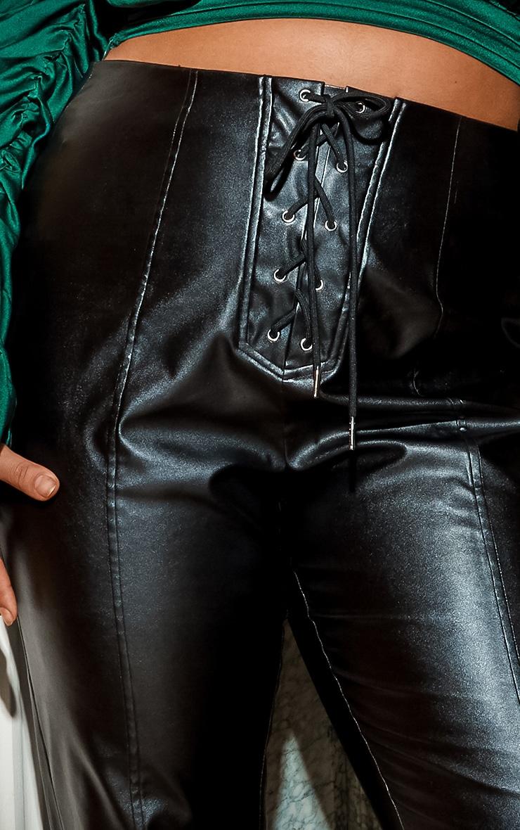 Plus Black Lace Up PU Skinny Pants 5