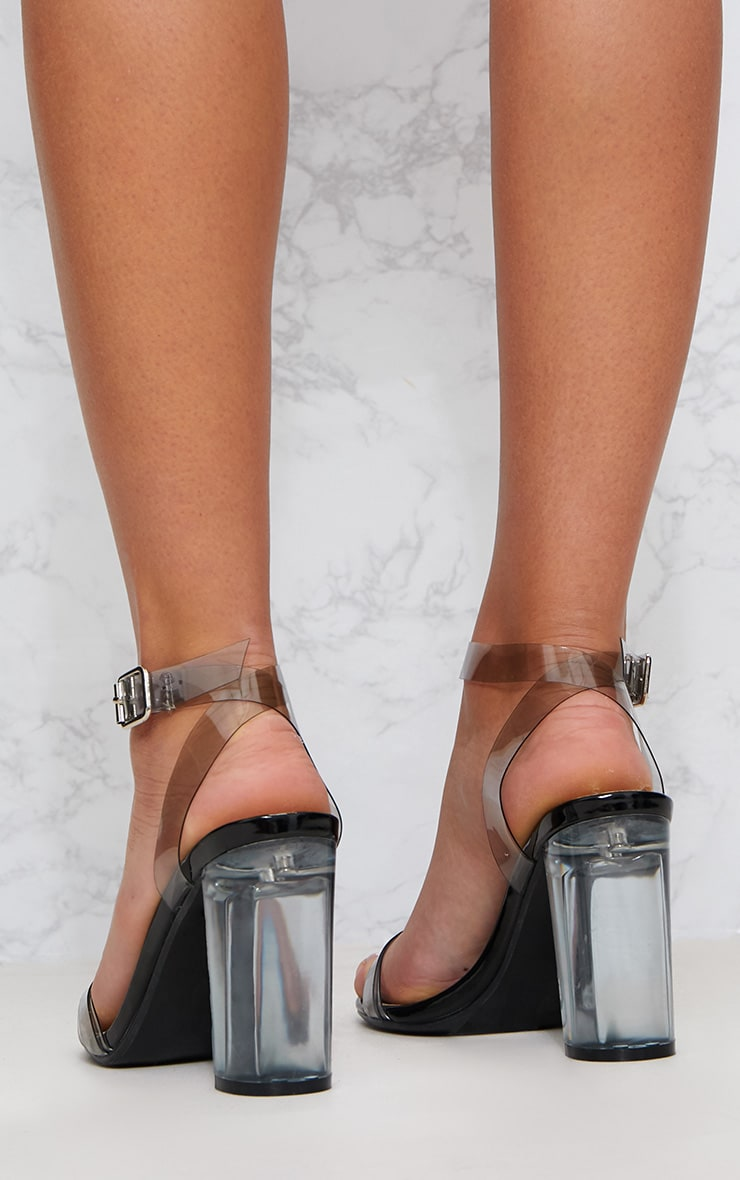 Black Clear Block Heel Sandal 4