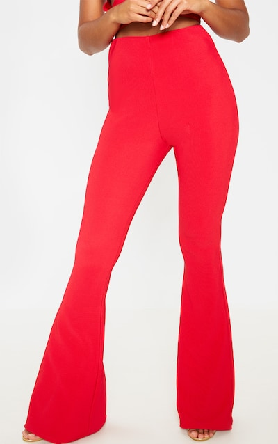 Red Textured Rib High Waisted Flared Trouser