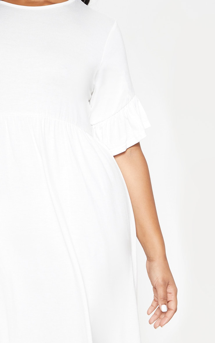 Plus White Frill Detail Smock Dress 5