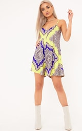 b6956e0228f Aliciah Yellow Swing Scarf Print Playsuit image 4