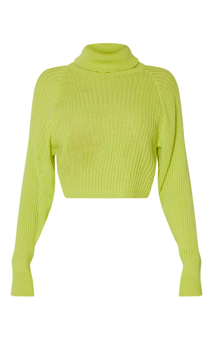 Tall Neon Green Roll Neck Cropped Knitted Jumper 3