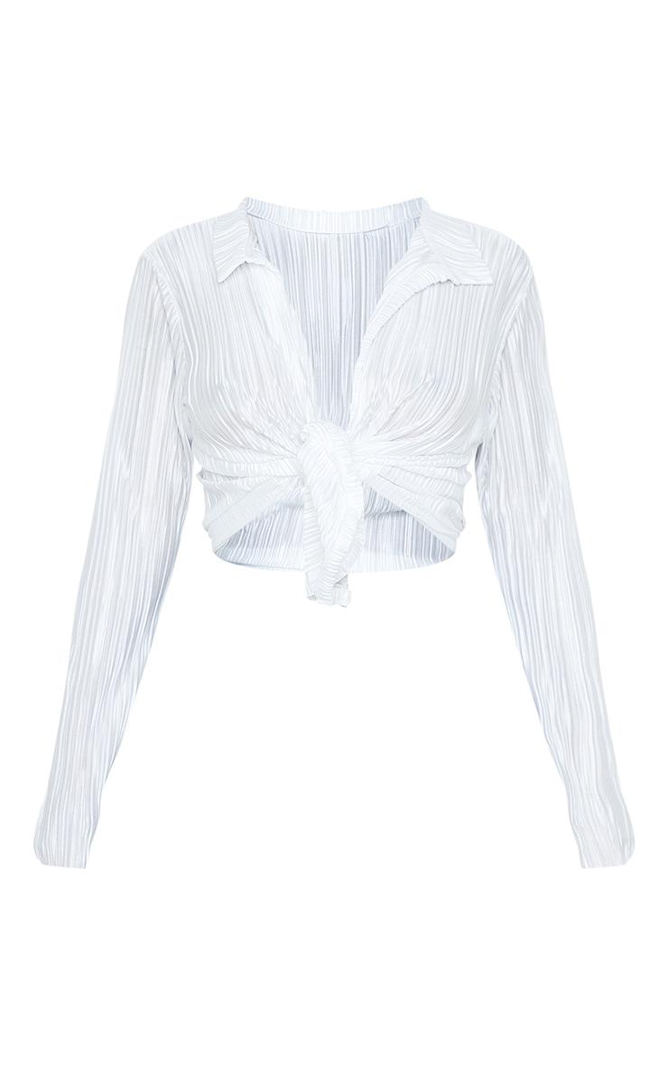 Cream Plisse Tie Front Long Sleeve Shirt 5