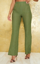 Khaki Wide Leg Linen Look Beach Pants 2