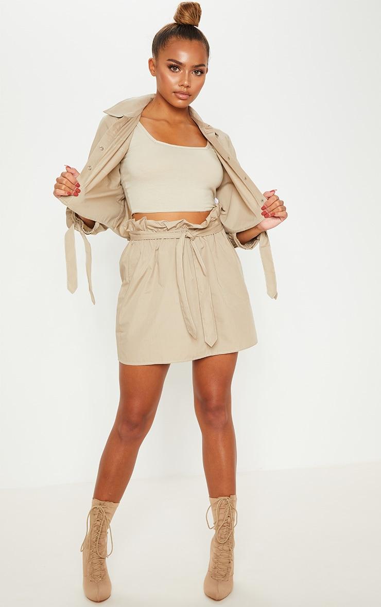 Stone Paperbag Waist Tie Front Mini Skirt 5