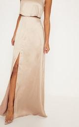 Champagne Bonded Slinky Overlay Split Front Maxi Dress 5