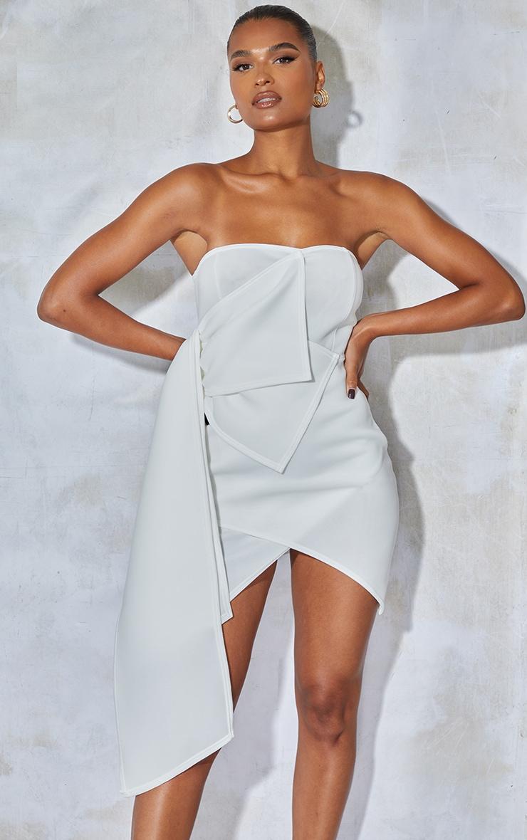 White Bonded Scuba Ruffle Wrap Bodycon Dress 1