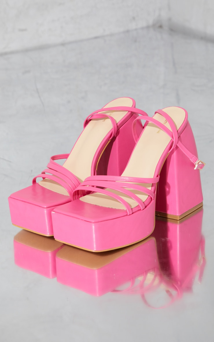 Pink Pu Square Toe Platform Strappy Heeled Sandals 1