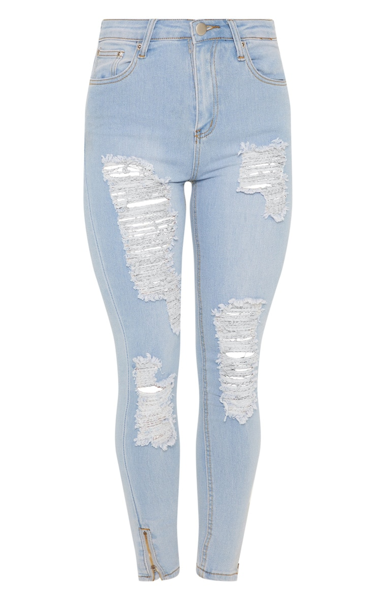 Light Wash Distressed Skinny Thigh Rip Jean  3