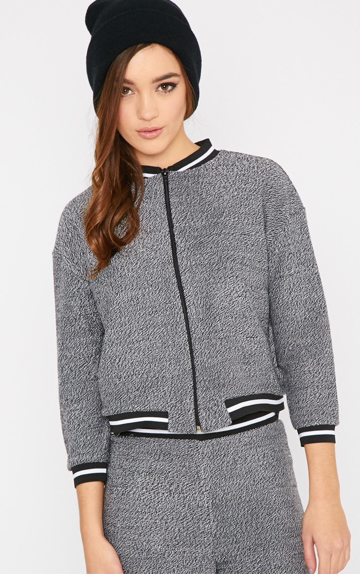 Hollie Grey Boucle Sporty Knitted Bomber 1