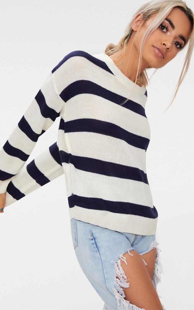 Cream Wide Stripe Jumper 1