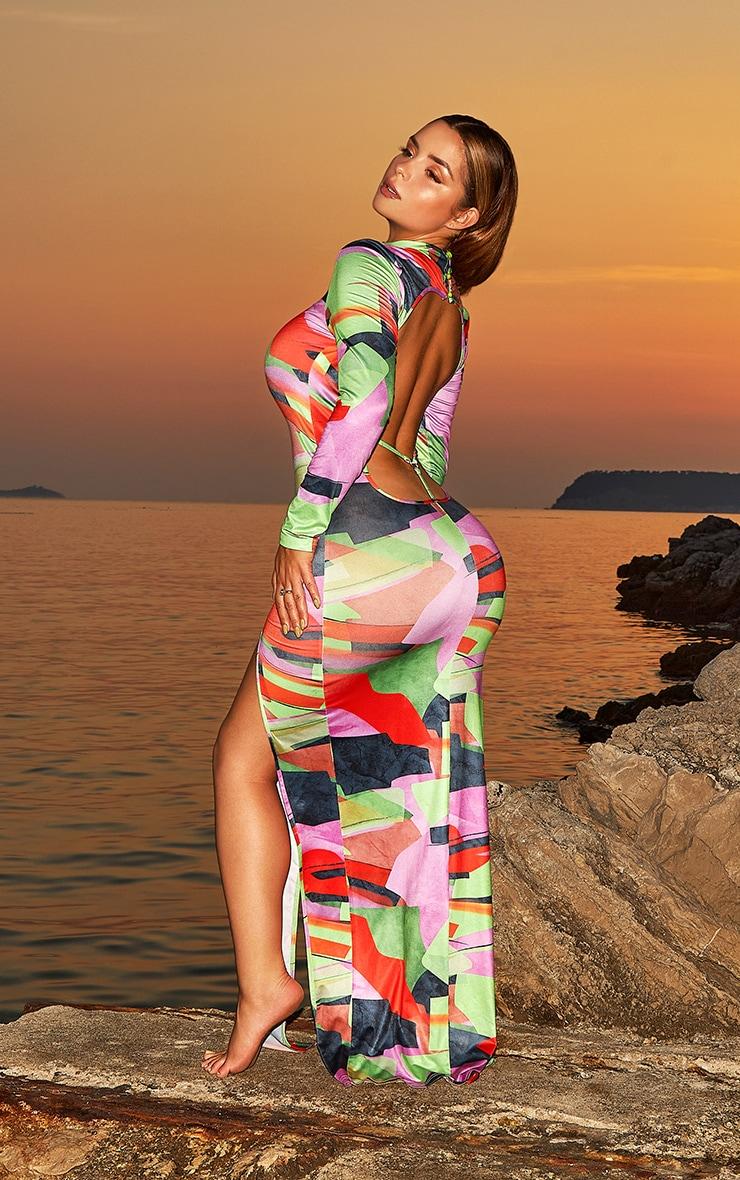 Shape Multi Abstract Print Heart Trim Open Back Midaxi Dress