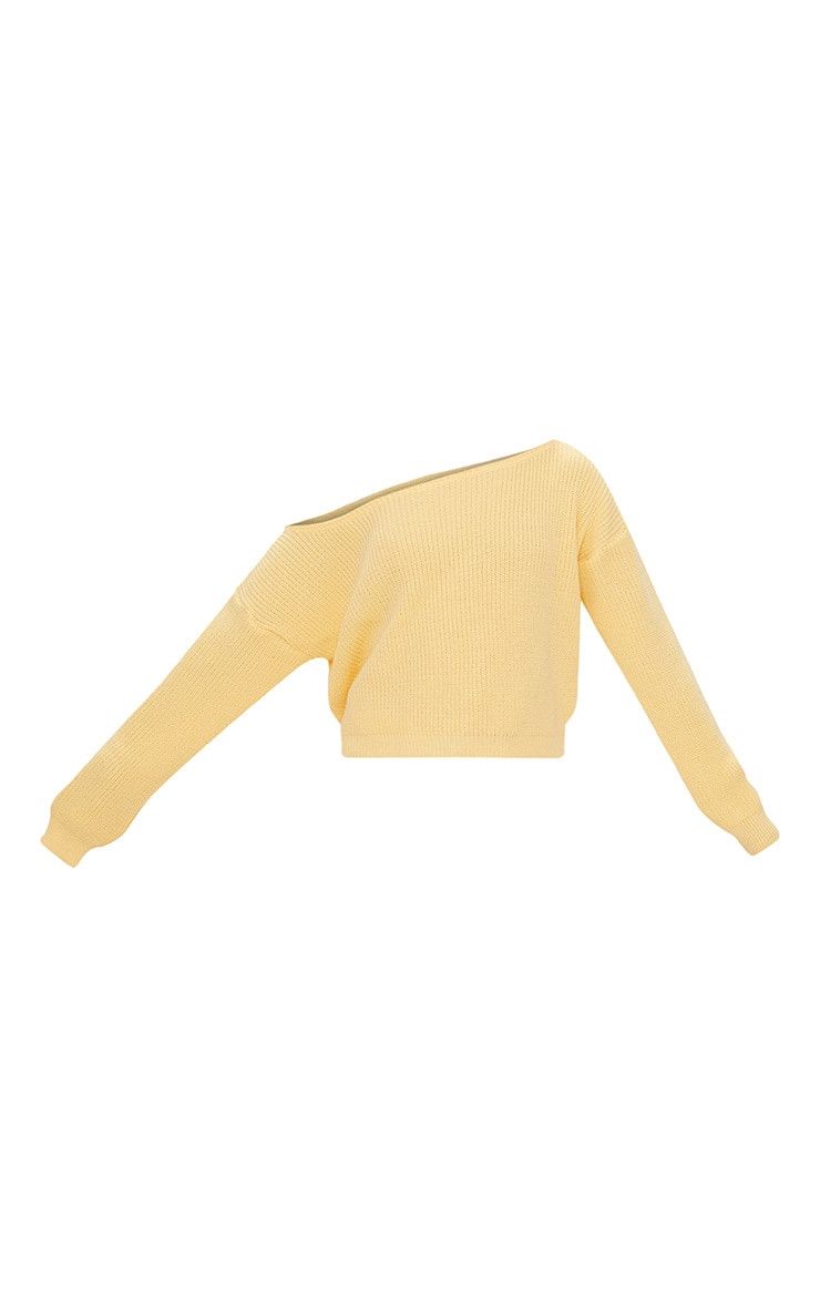 Lemon Off Shoulder Cropped Sweater 3