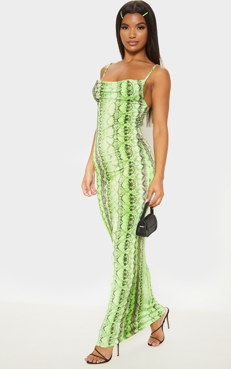 Neon Lime Cowl Snake Print Maxi Dress 4