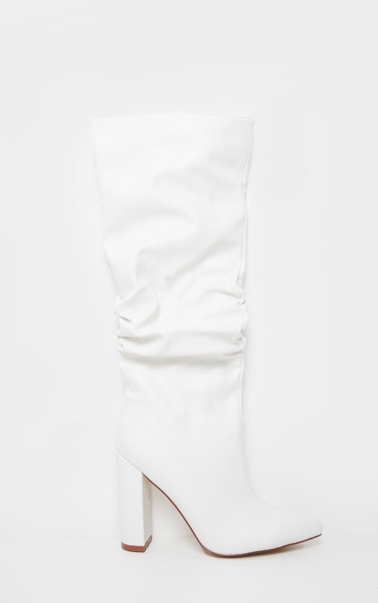 White Slouch Block Heel Calf Boot 3