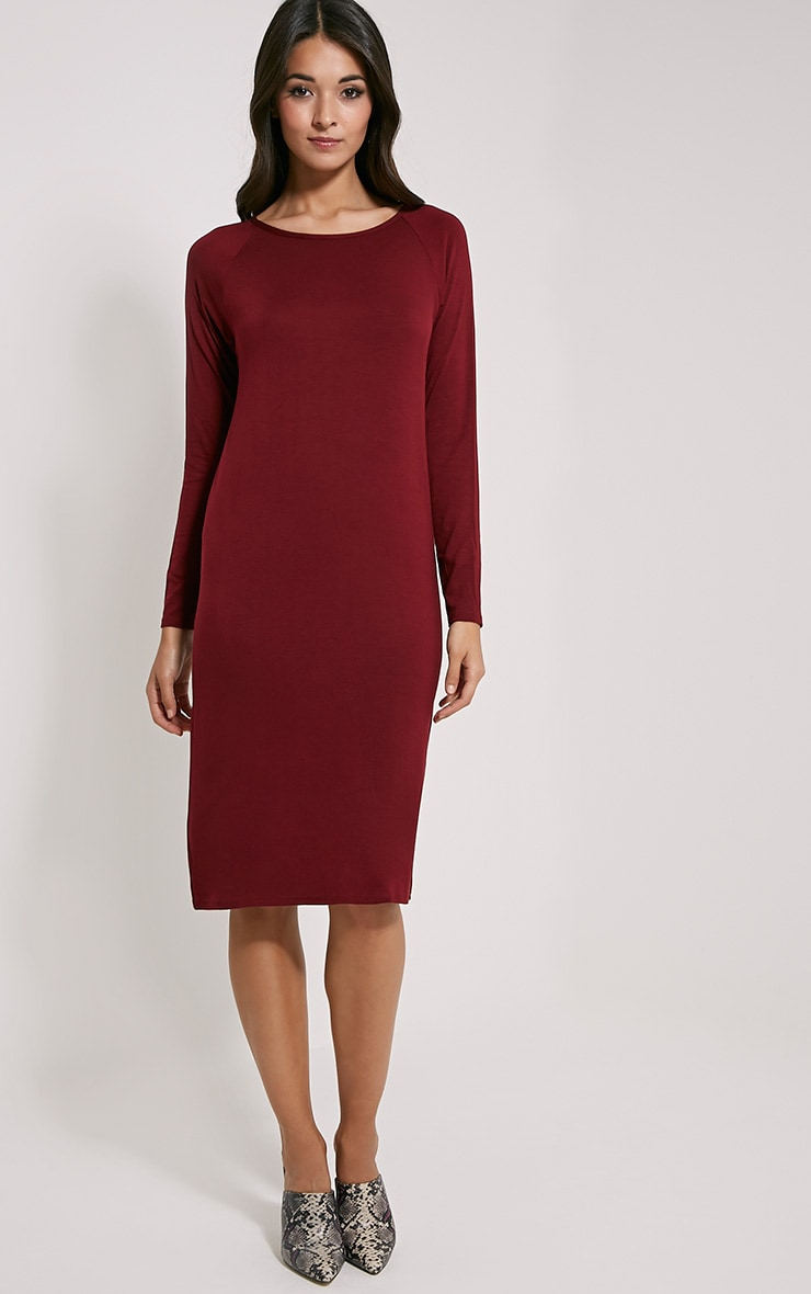 Jean Burgundy Long Sleeve Jersey Midi Dress 3