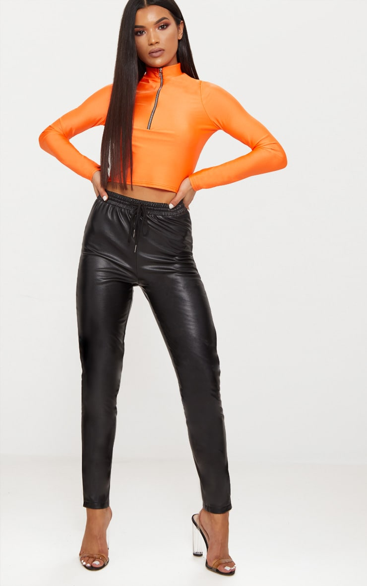 Bright Orange Disco Zip Front High Neck Long Sleeve Crop Top   3