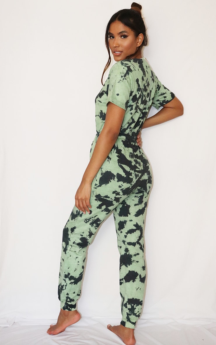 Sage Green Tie Dye Short Sleeve Sweat Jumpsuit 2