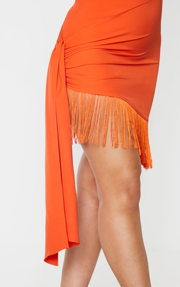 Orange Long Sleeve Tassel Hem Drape Detail Bodycon Dress 5