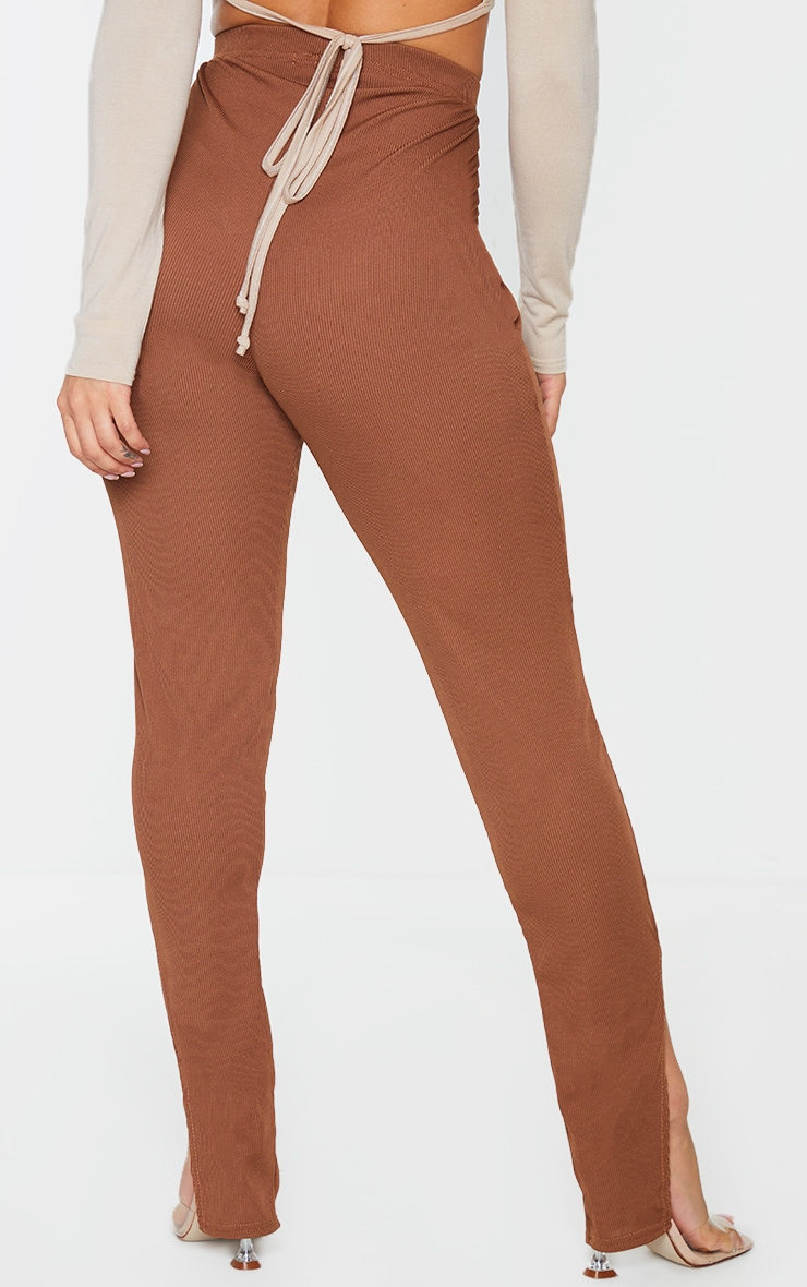 Shape Chocolate Brown Rib High Waist Split Hem Pants 3