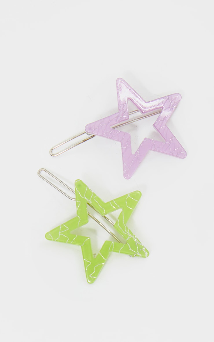 Lilac And Green Resin Star 2 Pack Hair Slides 2