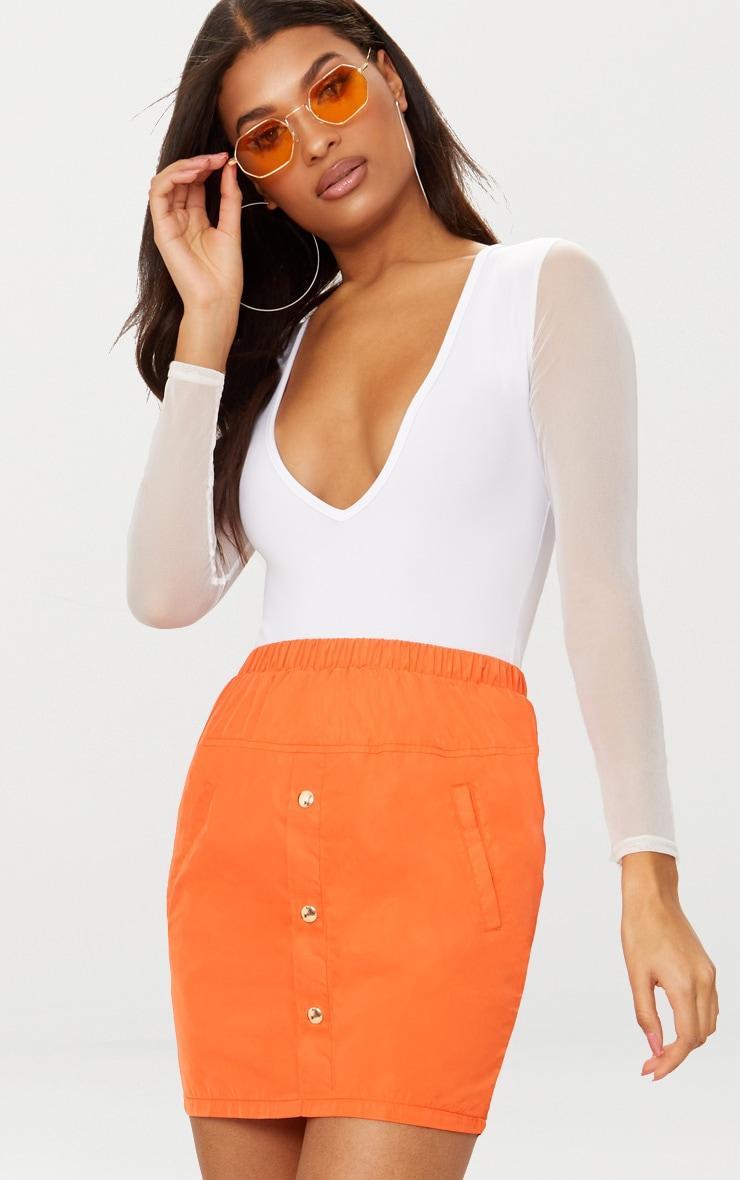 White Mesh Sleeve Plunge Thong Bodysuit  1