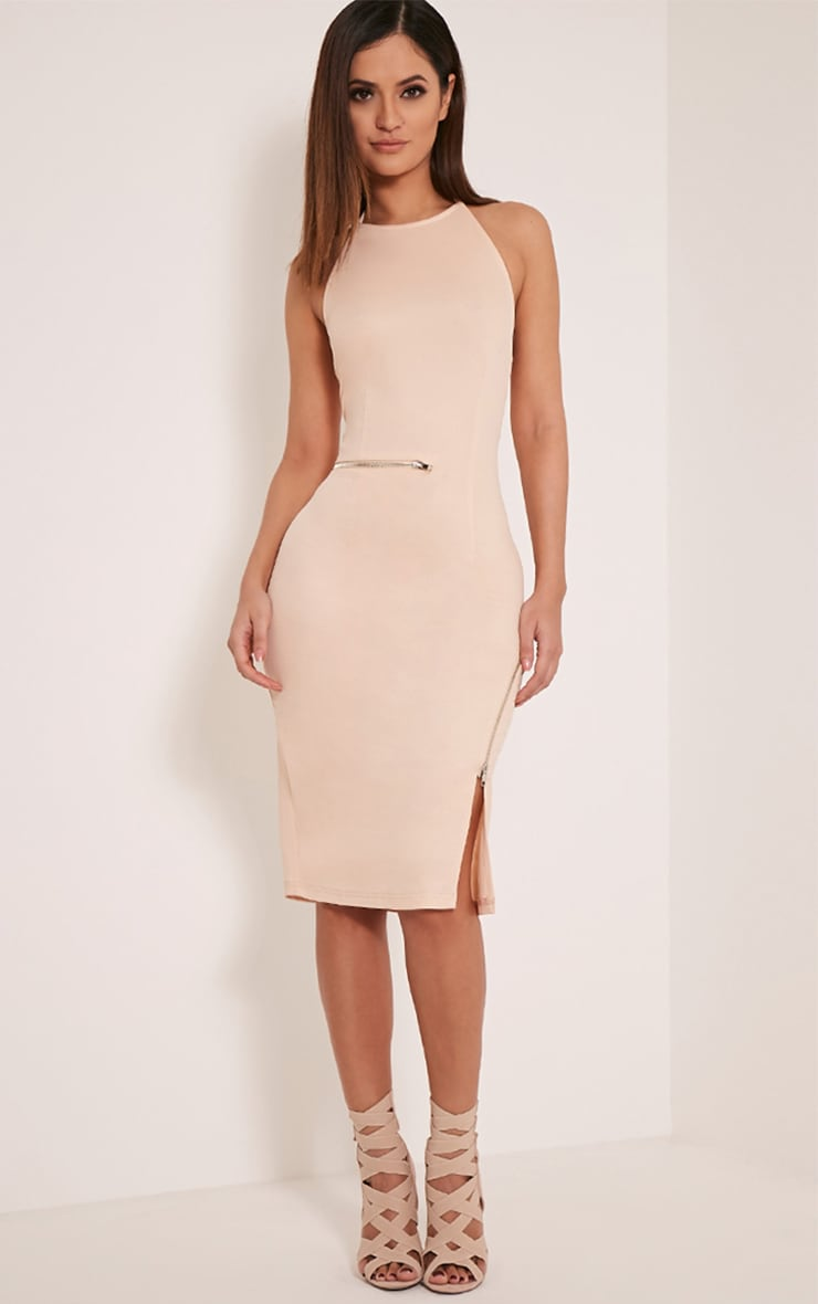 Lottie Stone Zip Detail Midi Dress 1