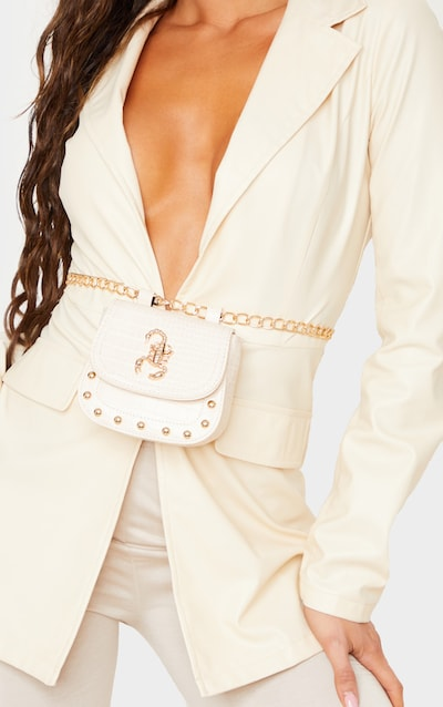 Cream Patent Croc Scorpion Saddle Belt Bag