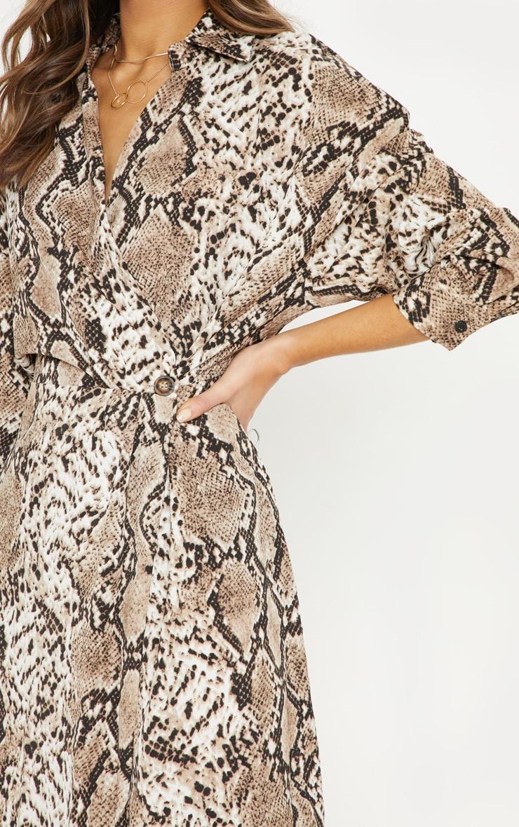 Brown Satin Snake Midi Dress 5