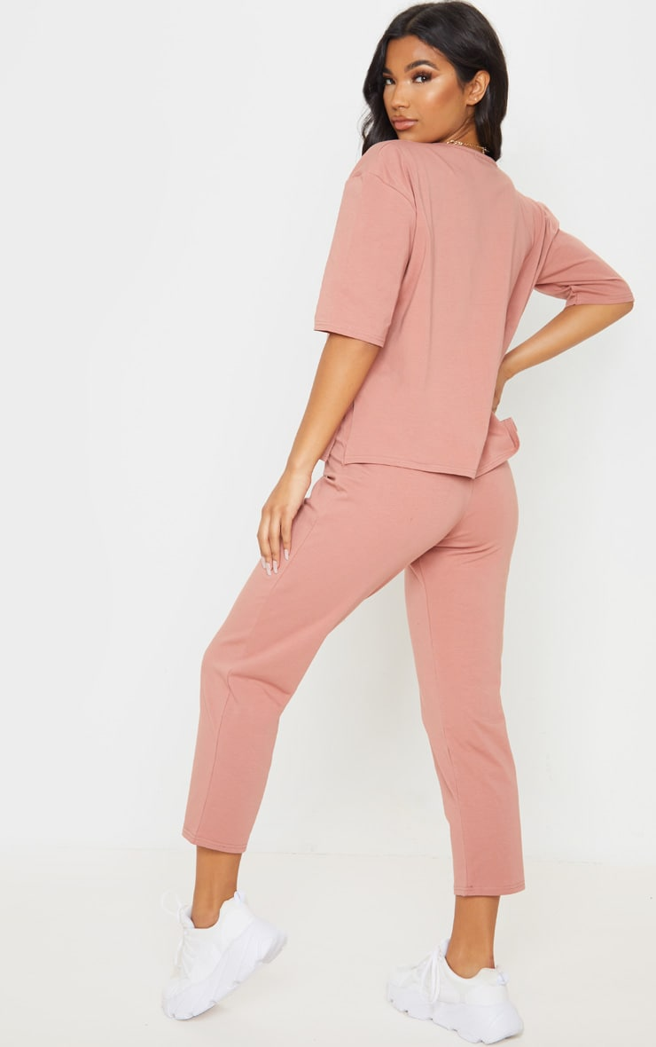 Dusty Rose Jersey Crew Neck Boxy T Shirt & Trouser Set 2