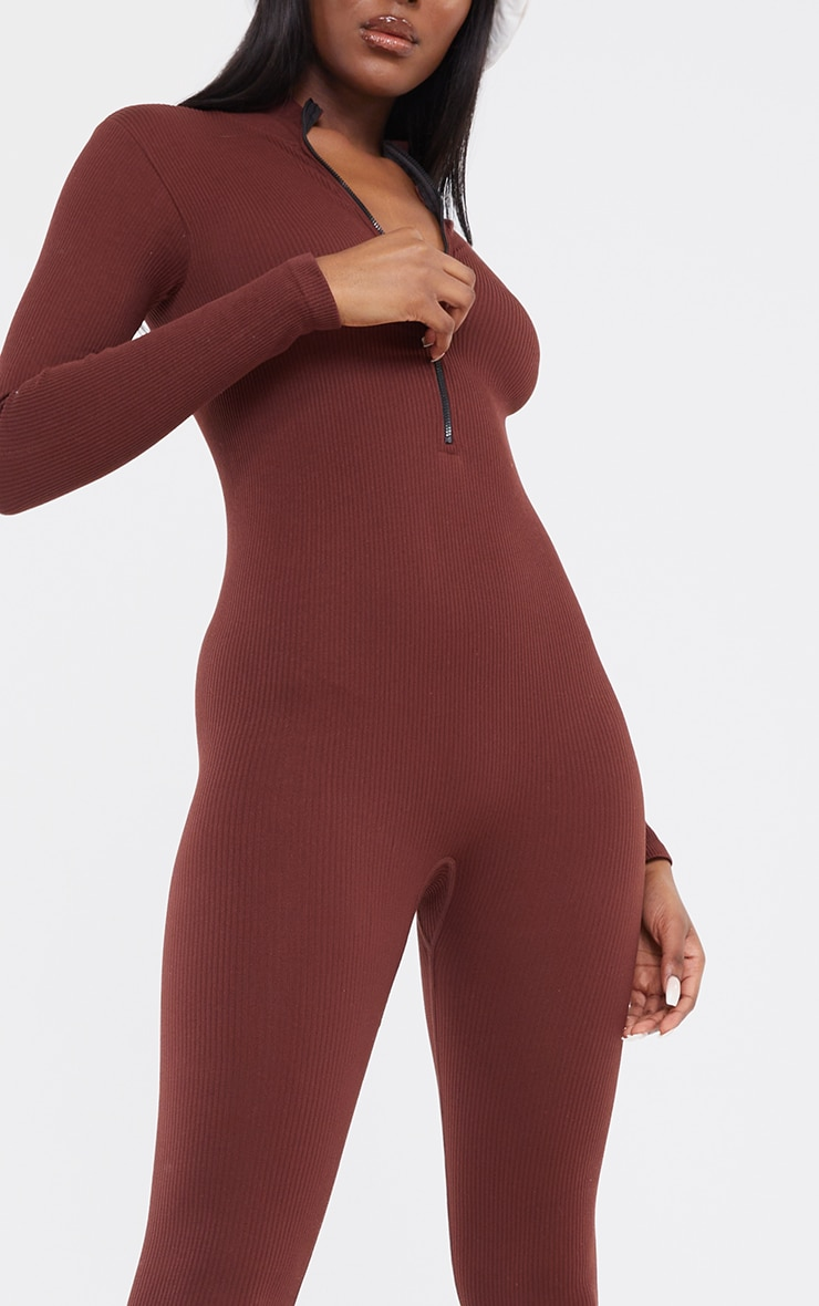 Tall Chocolate Structured Contour Rib Jumpsuit 4
