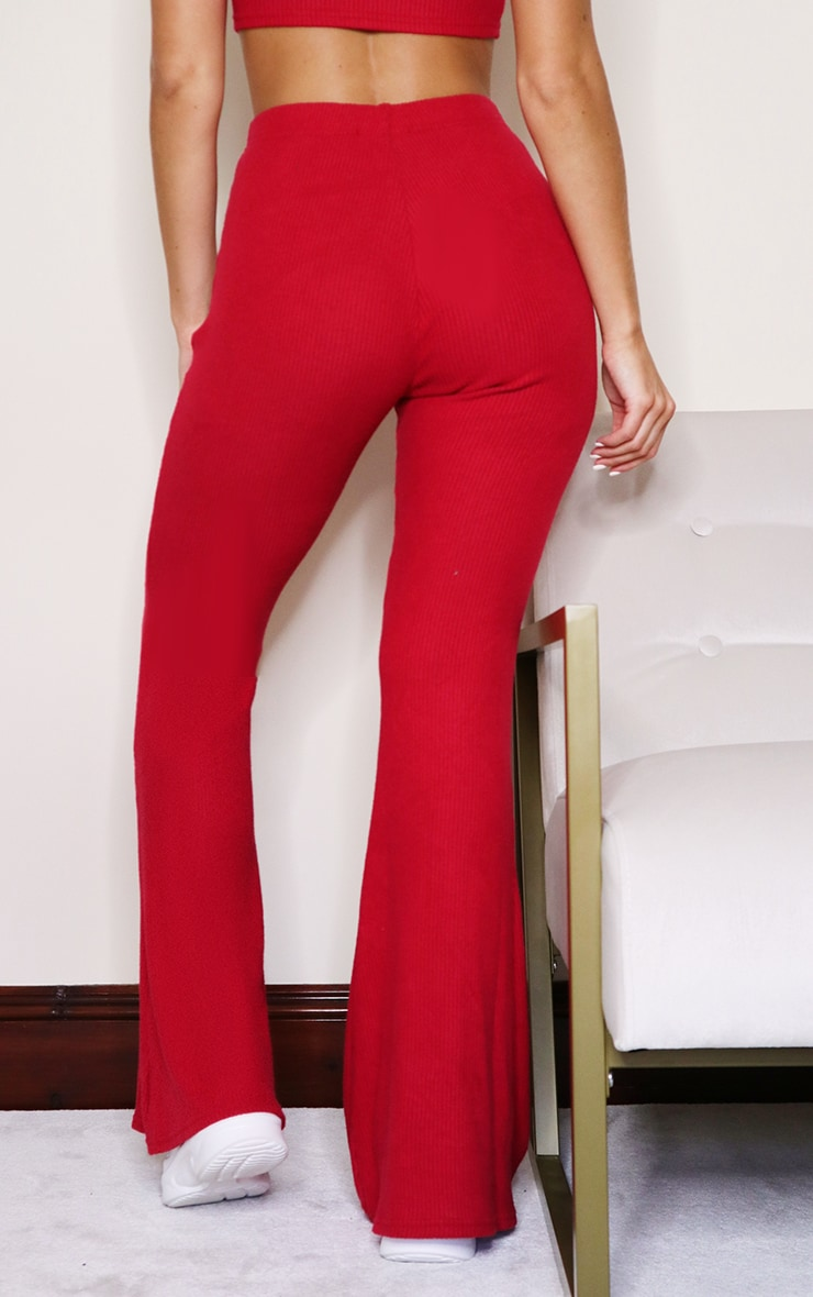 Scarlet Brushed Rib High Waisted Flared Pants 3