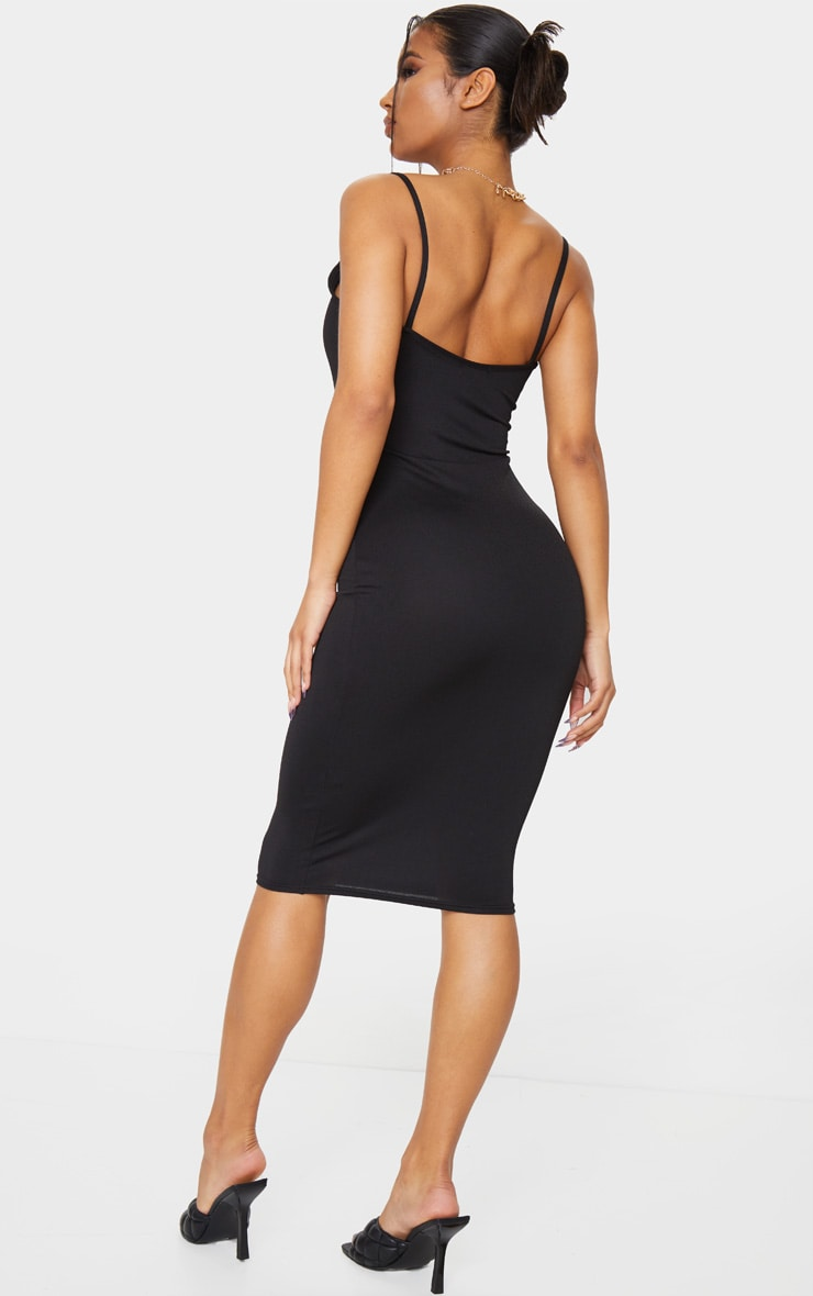 Black Square Neck Strappy Midi Dress 2