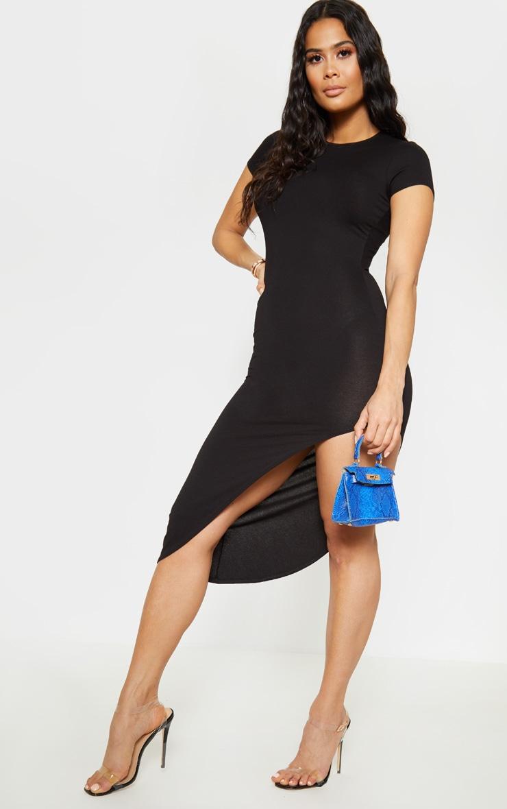 Black Side Split Midi Dress Dresses Prettylittlething Usa