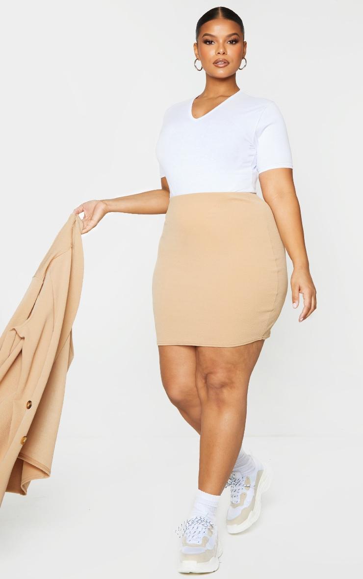 Plus Camel Mini Suit Skirt 1