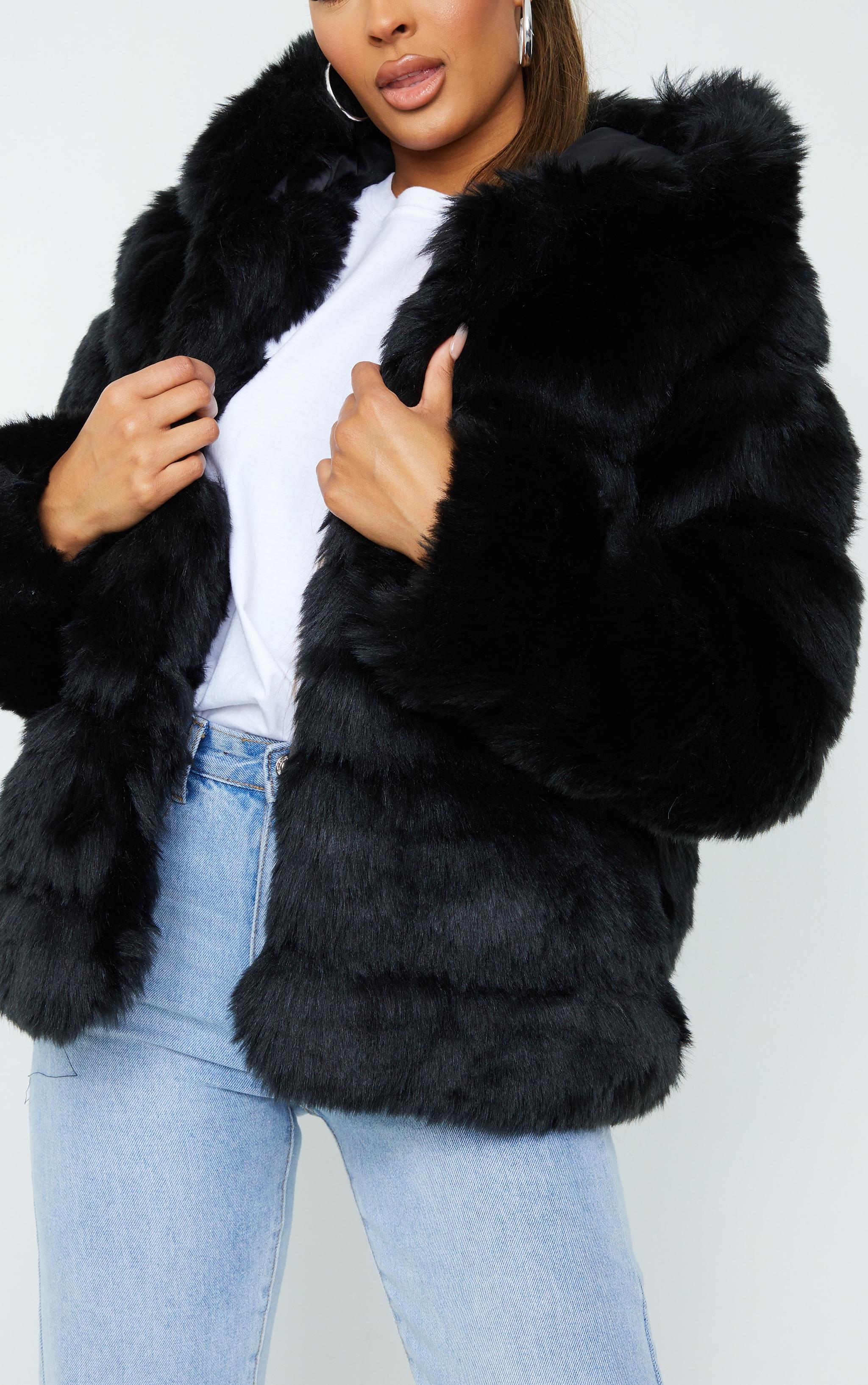 Black Premium Hooded Faux Fur Bubble Coat 4