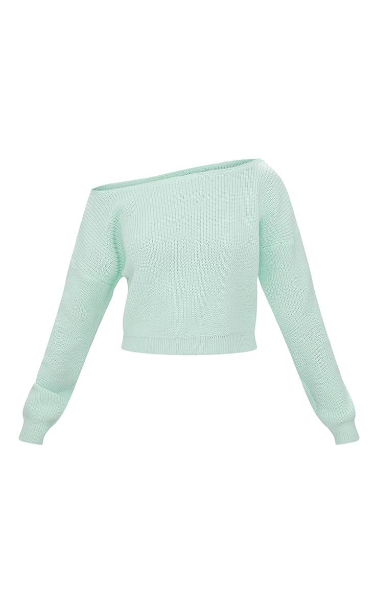 Mint Off The Shoulder Crop Sweater 3