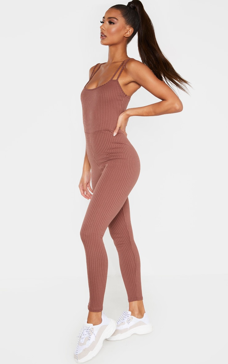 Chocolate Rib Double Strap Jumpsuit 1