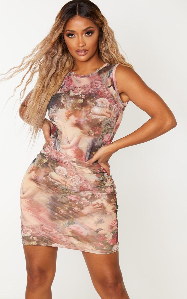 Shape Nude Renaissance Print Bodycon Skirt 1