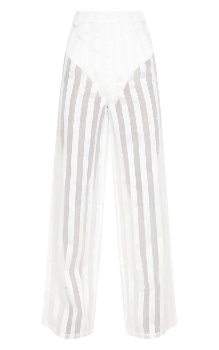 White Sheer Stripe Wide Leg trouser 3