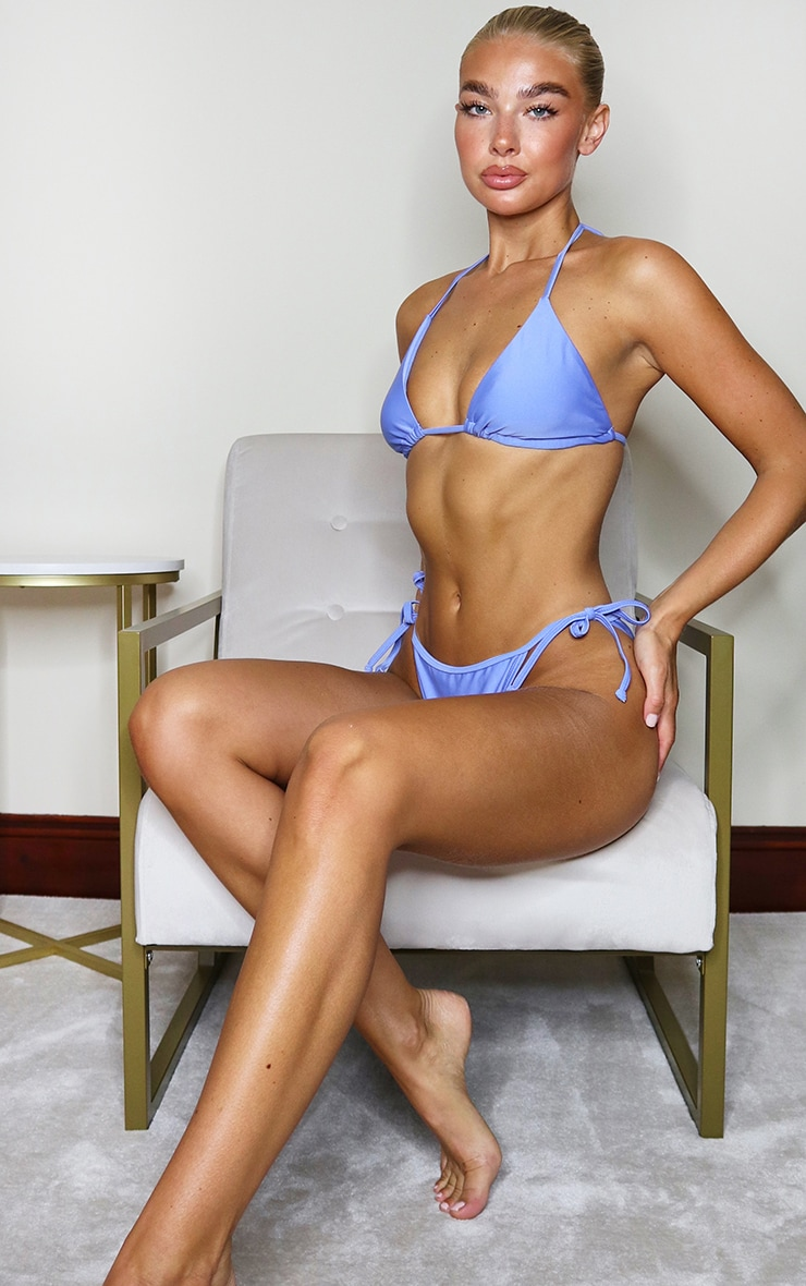 Cornflower Blue Mix & Match Tie Side Bikini Bottoms 4