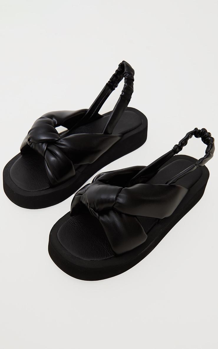 Black Padded Knot Slingback Square Toe Flatform Sandals 3