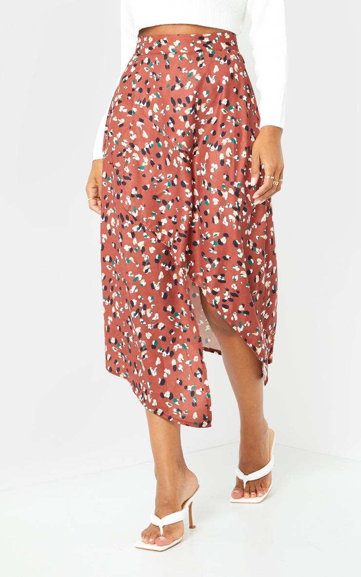 Tan Asymmetric Leopard Print Wrap Midi Skirt 2