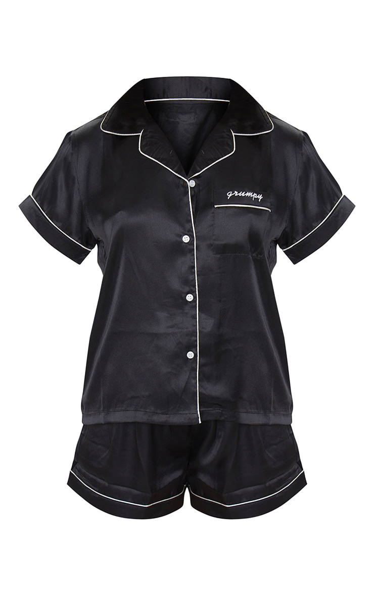 Black Grumpy Satin Short Pj Set 5