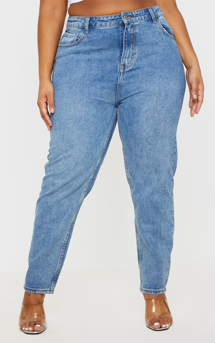 Plus Mid Washed Mom Jeans 2